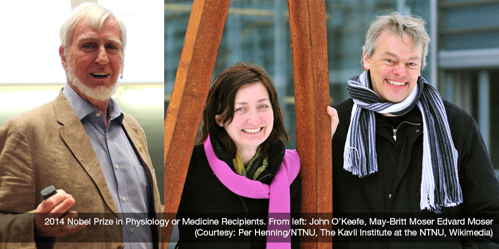 The 2014 Nobel Prize in Physics or Medicine was shared by three neuroscientists: John O'Keefe and husband-and-wife team May-Britt Moser and Edvard Moser. (Images courtesy: Per Henning/NTNU, The Kavli Institute at the NTNU, Wikimedia.)