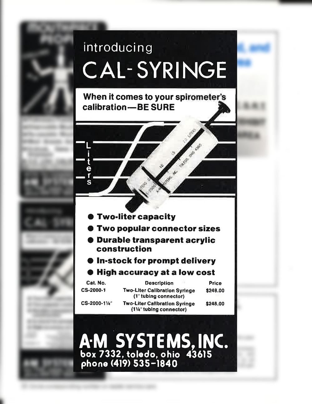 An ad for a calibration syringe we published in the May/June issue of the now defunct Medical Electronics Equipment & News.)