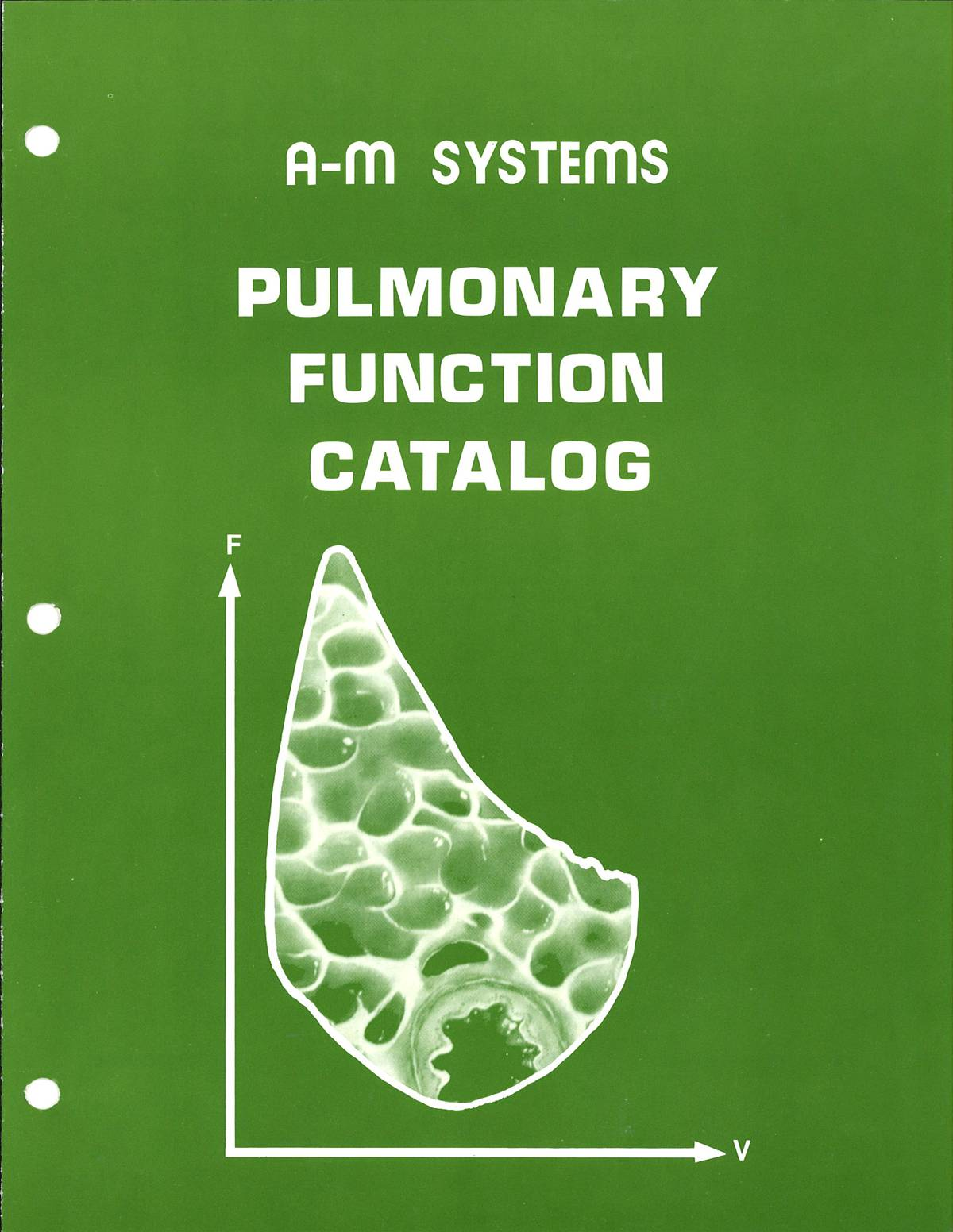Our 1977 pulmonary catalog shows a cross section of a bronchiole which is pasted inside a flow-volume loop. (Image: A-M Systems Archives)