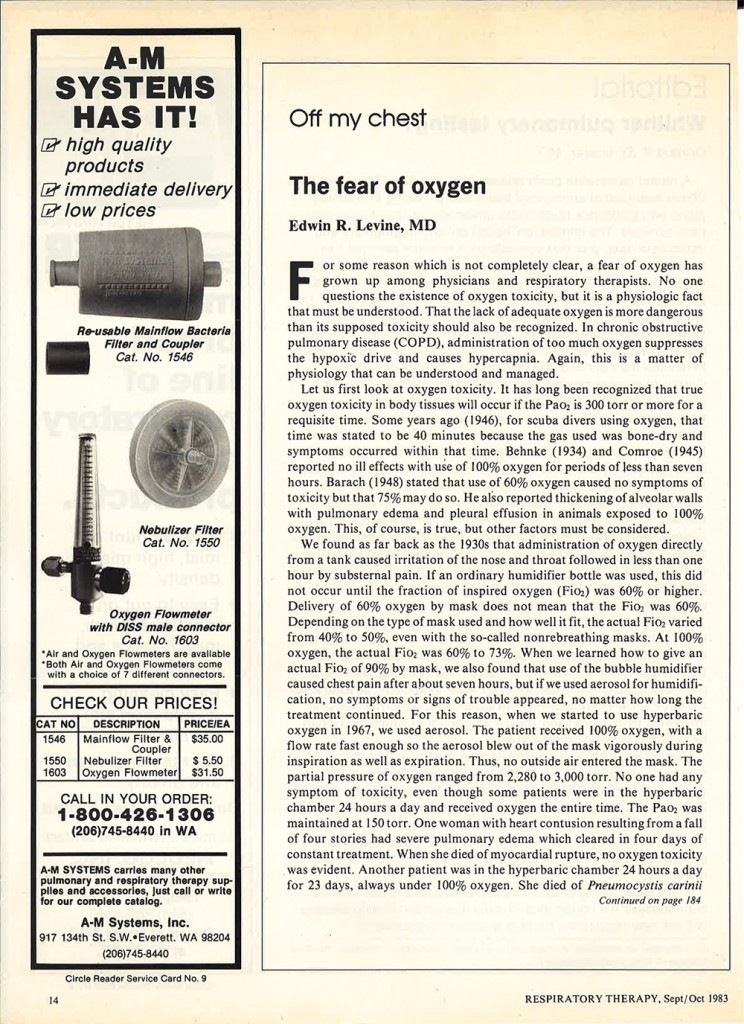'A-M Systems Has It' ad published in the Sep/Oct 1983 issue of Respiratory Therapy. (Image courtesy A-M Systems Archive.)
