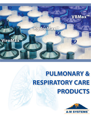 A-M Systems pulmonary and respiratory catalog featuring ViroMax BVF, HydroMax HME/f, and VBMax spirometer filter.