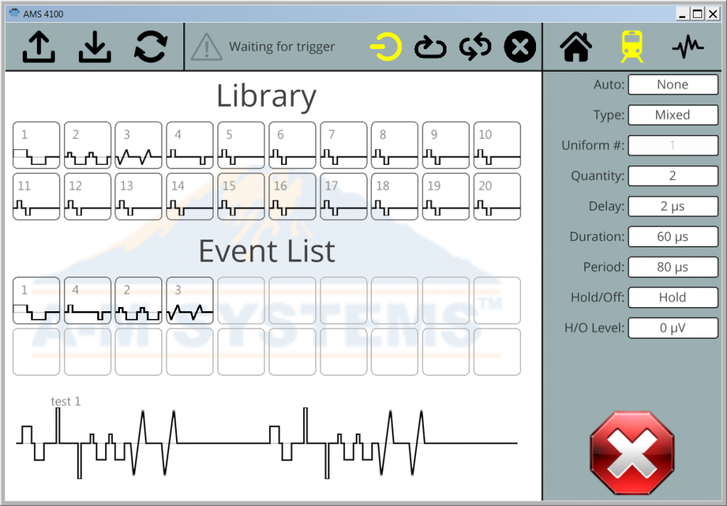 Model 4100 Isolated Stimulator's application lets you choose and arrange events from your library to program pulse trains.