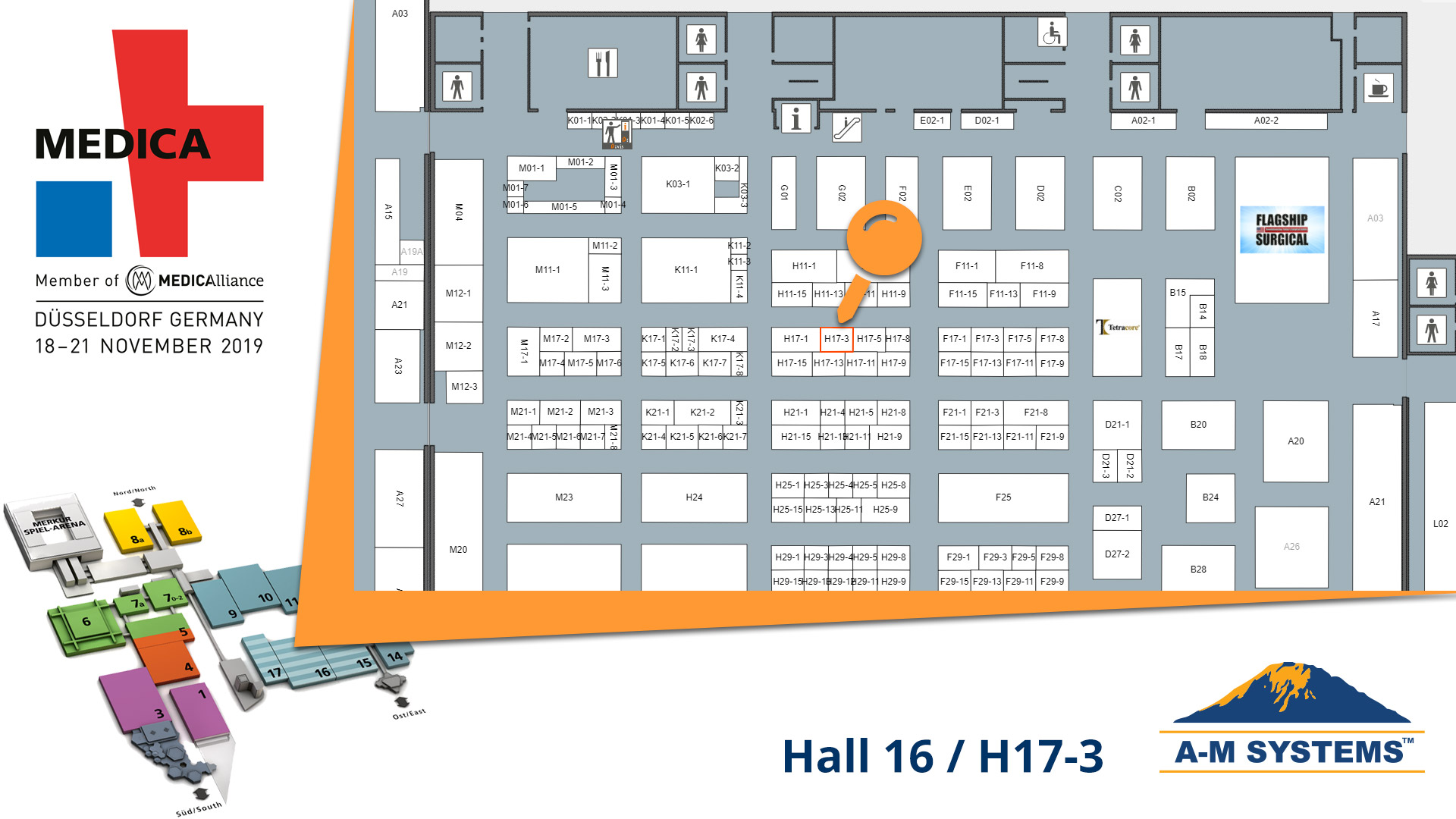 Floor Plan of A-M Systems Stand at Medica 2019 (Hall 16 / Stand H17-3)